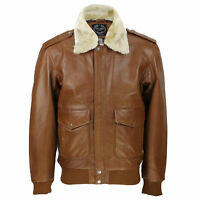 Mens Real Leather Tan Brown Vintage Pilot Removable Fur Collar Bomber Jacket
