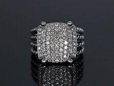 $2,750 David Yurman Silver Wheaton Ring 16 x 12mm Pave 1.12ct Diamond Cable Band