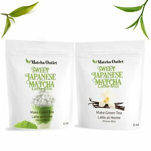 Sweet Japanese Matcha Green Tea Powder with Vanilla Flavor Mix, 2 bags x 6 oz