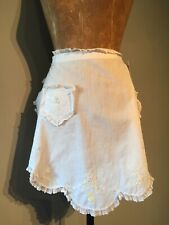 VINTAGE HAND MADE APRONS ( 2 ) WHITE LINEN COTTON - HAND EMBROIDERED