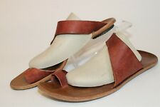 CYDWOQ Womens Size 10 41  Leather Toe Ring Slide USA Hand Made Flat Sandal Shoes