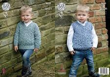 King Cole 4630 Knitting Pattern Boys Sweater and Slipover in Fashion Aran Combo