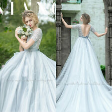 Short Sleeves Beaded Train Wedding Dresses Quinceanera Formal Prom Pageant Gown