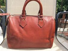 Superbe Sac Speedy 25 Épi Marron Louis Vuitton Authentique Tbe