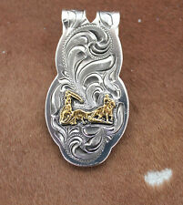 Silver Gold Money Clip Mens Western Cowboy Rodeo Team Roping Rope Horse Engraved
