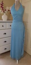 Taboo Ladies Aqua Blue Glitter Stretch Halter Long Gown Evening Dress Ruche Sz.M
