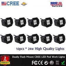 10x Dually Flush Mount 20W CREE Flood LED Pod Work Lights 4x4 OffRoad Jeep