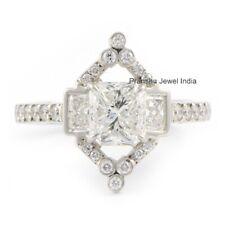 Vintage Engagement Ring 925 Sterling Silver Art Deco 5Ct Radiant Cut Moissanite