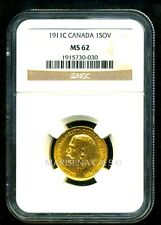 CANADA 1911 C GOLD COIN GV SOVEREIGN * NGC CERTIFIED GENUINE MS 62 * SPLENDID