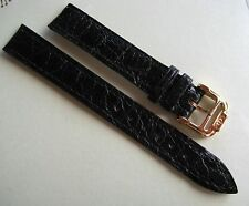 GENUINE BAUME & MERCIER WATCH STRAP BAND BLACK LEATHER 14 mm & 12 mm GOLD BUCKLE