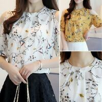Moda Mujer Loose Shirt Floral Print tops Blusa de gasa Off Shoulder T - shirt