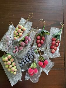 """Vintage Sugar Beaded Fruit Grapes/Cherries/Berries  6 Bunches 4.5"""" to 6.0"""" long"""