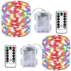 2 Pack 10m 100 LED Fairy String Lights Multicoloured Waterproof & Remote Control