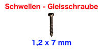 200 Schwellen - Gleisschrauben von ENHE für Spur H0 (1,2 x 7 mm)