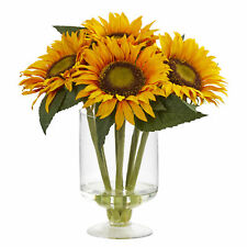 """Sunflower Artificial Arrangement In Vase Floral Nearly Natural Home Decor 12""""H"""