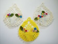 3 hand crocheted mini posy hanging baskets