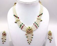 INDIAN BRIDAL GOLD PENDANT SET WITH EARRING SET RUBY EMERALD BEADED NECKLACE SET