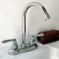 Modern Chrome Cold Hot Water Basin Faucet Double Sink Mixer Tap Bathroom