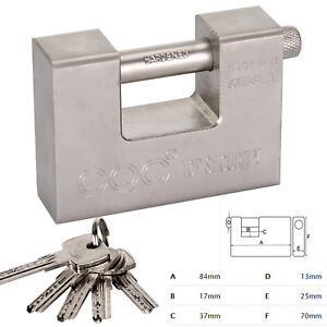 HEAVY DUTY ARMOURED PADLOCK SECURITY LOCK CONTAINER WAREHOUSE 10 KEYS 94MM