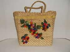 Vintage~STRAW~Tote~HANDBAG~Purse~CLOTH LINED~Velvet Ribbon~COLORFUL Fruit~GRAPES