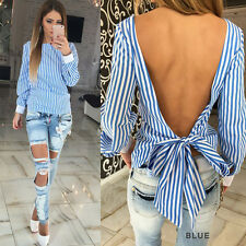 Women Long Sleeve Open Back Loose Striped Tops Casual Shirt Bowknot Party Blouse