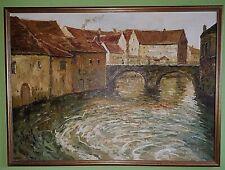 ÖL Gemälde auf Leinwand-Stadt im Wasser- 115x94cm außen