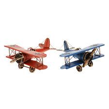2 Pièces Vintage Avion En Métal Modèle Planeur Biplane Avion Militaire
