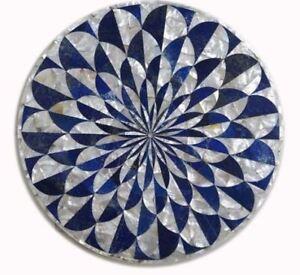 white stone Inlay Italian 2' marble dining Coffee Table Top round malachite