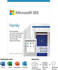 Microsoft Office 365 Family (6 Users) Medialess 12 Months & OneDrive (Sealed) UK