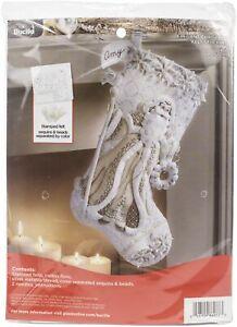 "Bucilla Felt Stocking Applique Kit 18"" Long-Elegant Christmas -86977E"