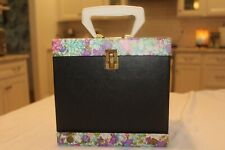 VINTAGE BLACK AND FLORAL RECORD BOX STORAGE CASE 45 RPM