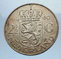 1960 Netherlands Kingdom Queen JULIANA 2 1/2 Gulden Authentic Silver Coin i69475