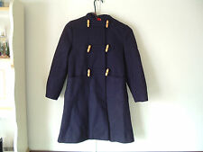 Navy Blue Forever Classic Hooded Wool Toggle Coat Size 10 Made in England