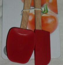 Red Farberware Kitchen Mini Spatula Set of 2 Spoonula Wood Silicone