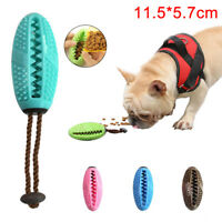KQ_ 1X Pet Dog Puppy Leakage Food Rugby Ball Suction Cup Elastic Molar Bite Chew