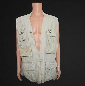 Naturalist Outdoor Hunting Fishing Vest Pockets Mens XL Breathable Khaki Zipper