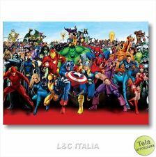Marvel 2  STAMPA TELA CARTONI COMICS HEROES FUMETTO QUADRO ARREDAMENTO CASA