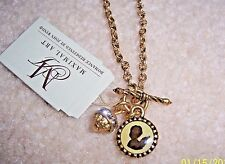 MAXIMAL ART BLACK ANGEL SILHOUETTE & CRYSTAL BAUBLE GOLD TONE CHARM NECKLACE