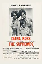 Diana Ross & The Supremes at Brown University Concert Poster 1969 12x18