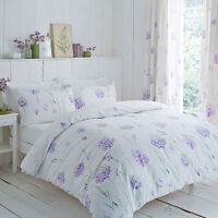 Polycotton White Background With Purple Floral Design Duvet Set and/or Curtains