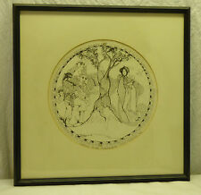 Framed Signed J Dilloway Chinese Mythology Series Print Lu-Tung Pin White Peony