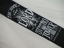 LM Sacred Christian Bible verse Proverbs 18:10 denim guitar STRAP NEW black