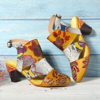 SOCOFY Women Snakeskin Grain Splicing Genuine Leather Vintage Flowers Sandals