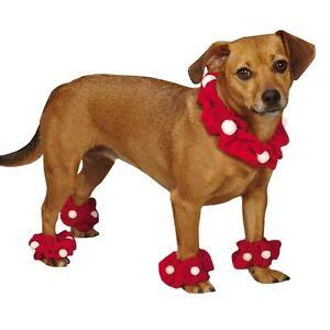 Santa Scrunchy Anklet Set Dogs Red Velvet Pom-Poms Christmas Festive Holiday