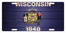 WISCONSIN STATE Flag Custom License Plate AMERICAN Emblem WOOD Version