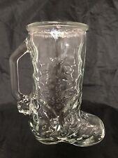 Cowboy Boot Glass Mug Mexico Handle Clear Glass Vintage VTG