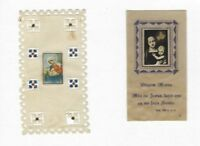 SET of 2 Old vtg Devotional HOLY CARDs w/VIRGIN MARY Celluloid hand made FRANCE