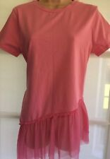 NEW ATMOSPHERE 12 pink jersey tunic net frill asymmetrical hem longline top