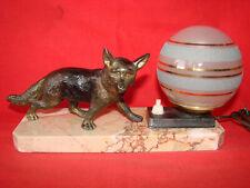 Ancienne lampe veilleuse chevet art deco marbre boule verre renard loup régule