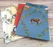 Vintage THIBAUT Greenwich Fabric Sample French Country Farmhouse Animals Cotton